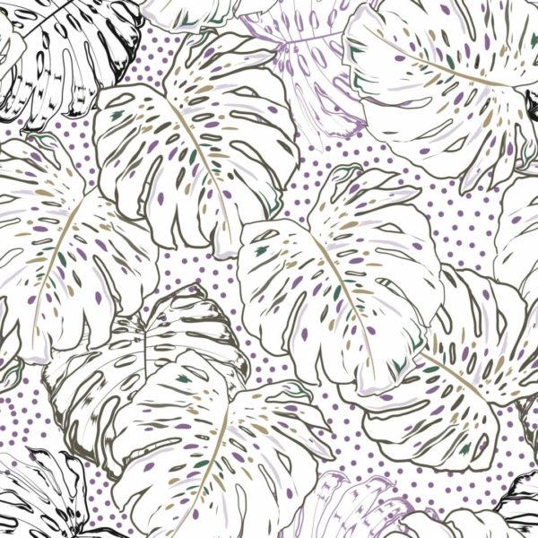 multicolored monstera leaf self-adhesive wallpaper