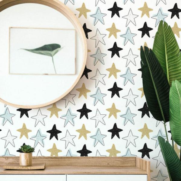 multicolored star self-adhesive wallpaper