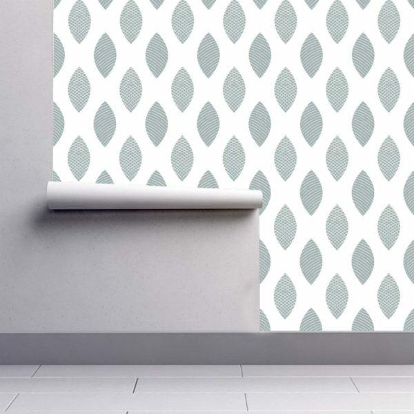 green scandi leaf removable wallpaper