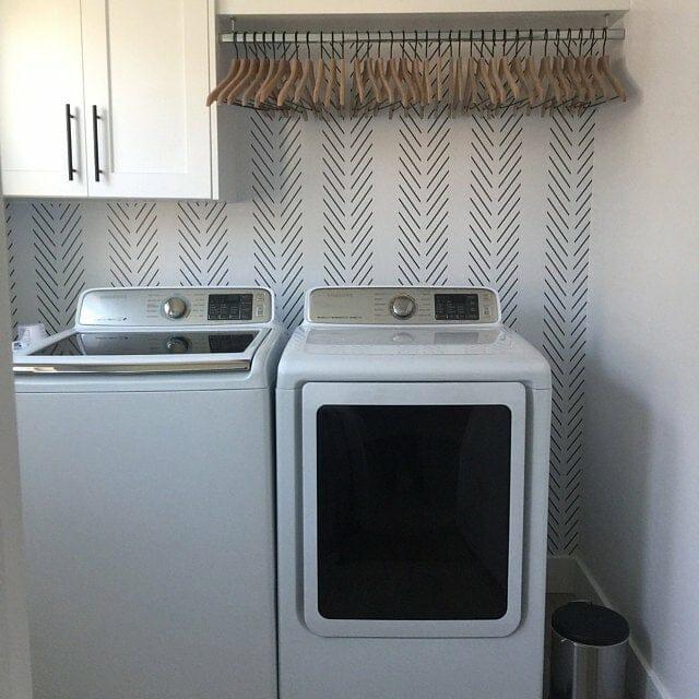 Wallpaper behind appliances