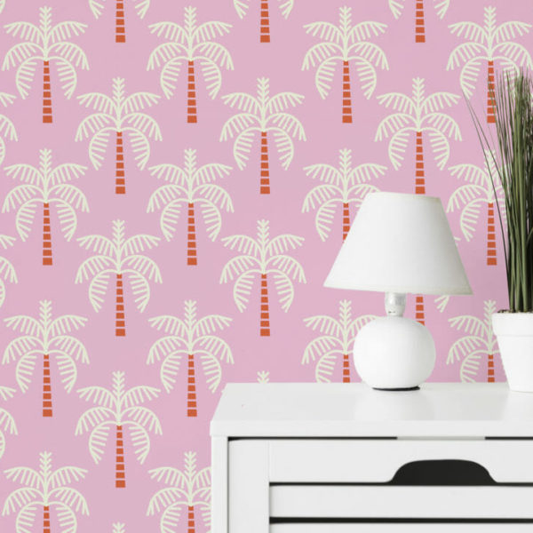 pink and white palm tree peel and stick wallpaper