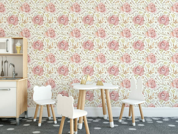 pink boho nursery floral peel and stick wallpaper