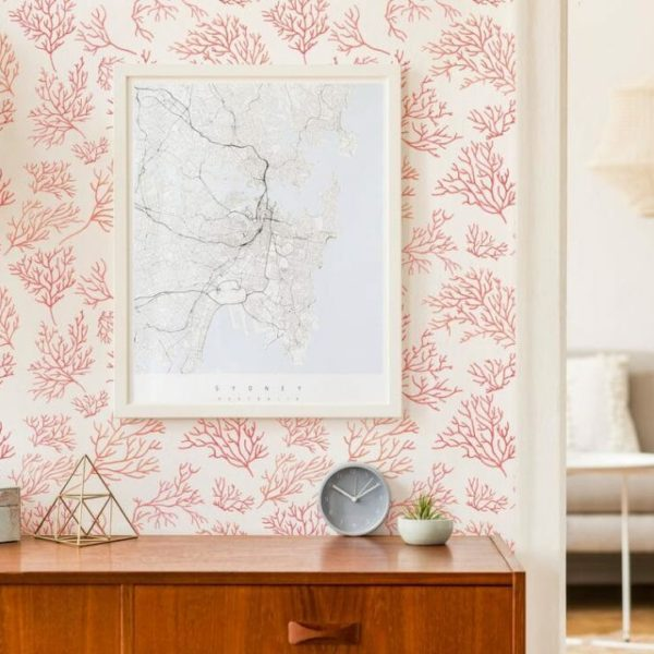 pink coral peel and stick wallpaper