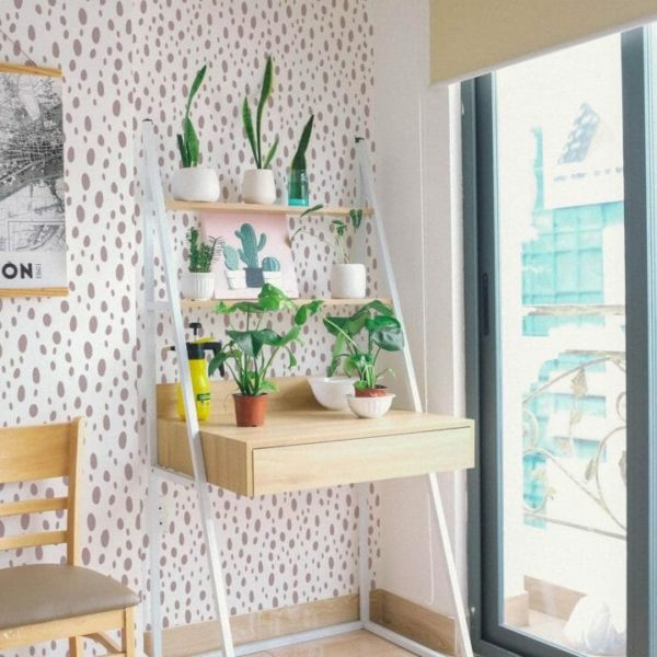 pink speckled dot peel and stick wallpaper