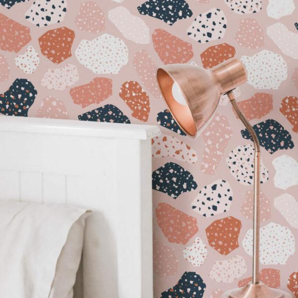 pink terrazzo nursery self-adhesive wallpaper
