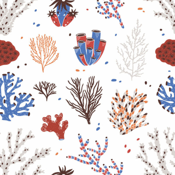 red and white coral self-adhesive wallpaper
