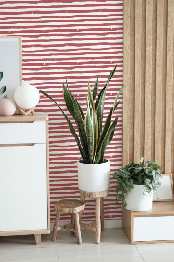 red and white striped peel and stick wallpaper