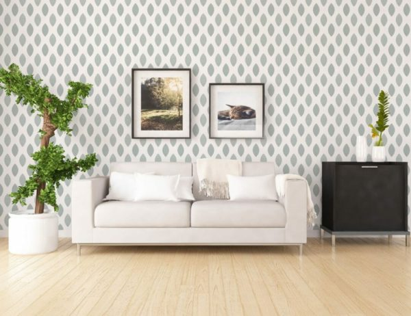 green scandi leaf wallpaper roll