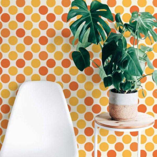 yellow and orange retro peel and stick wallpaper