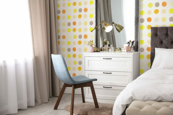 yellow dotted nursery peel and stick wallpaper