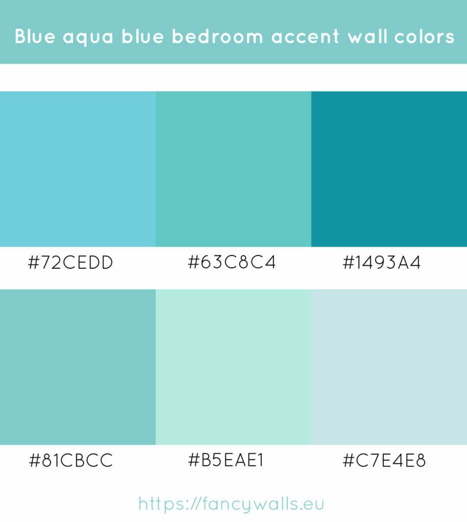 Aqua blue colors for bedroom accent walls