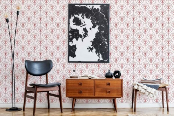 red art deco self-adhesive wallpaper