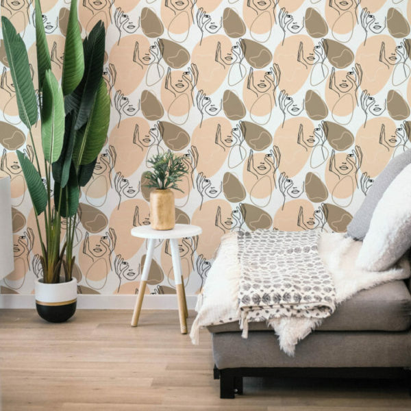 beige face peel and stick wallpaper