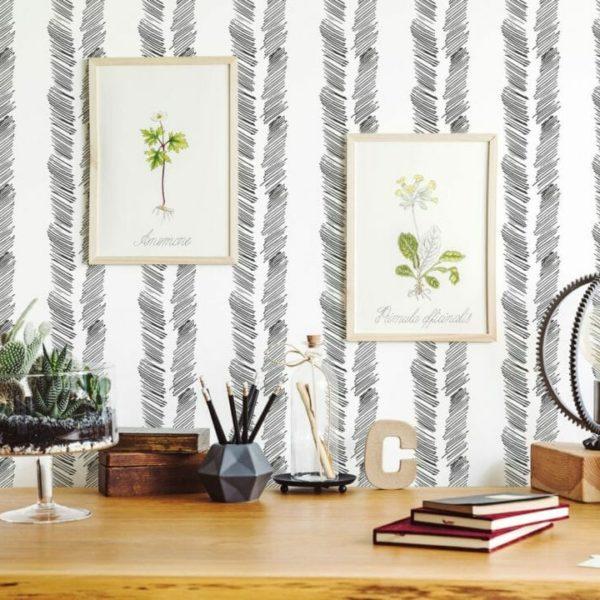 black brushed herringbone peel and stick wallpaper