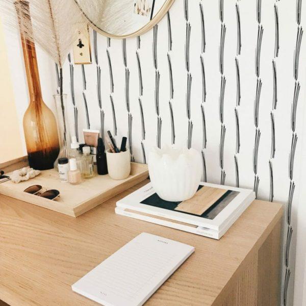 black brushed stripe peel and stick wallpaper