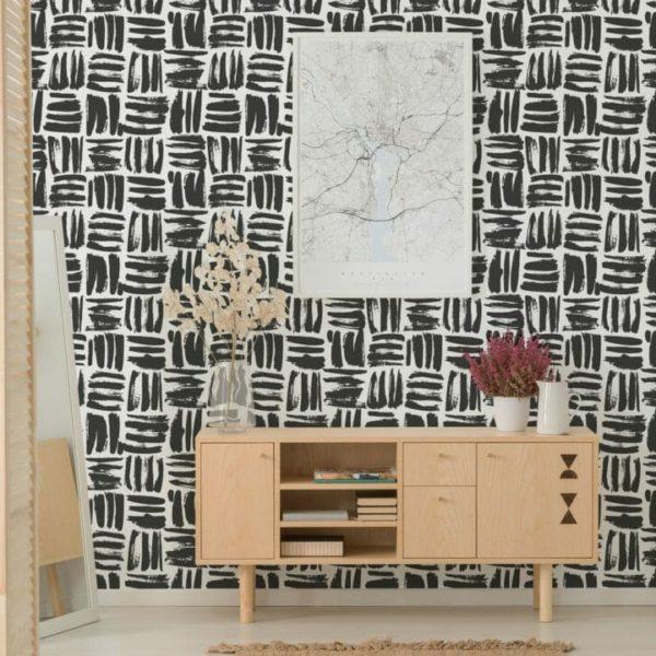 black brushstroke square peel and stick wallpaper