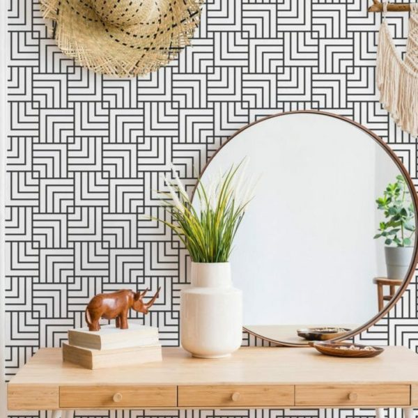 black geometric stripe peel and stick wallpaper