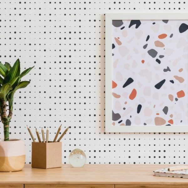 black halftone peel and stick wallpaper