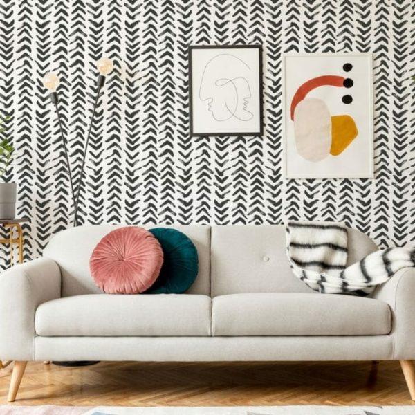 black herringbone peel and stick wallpaper