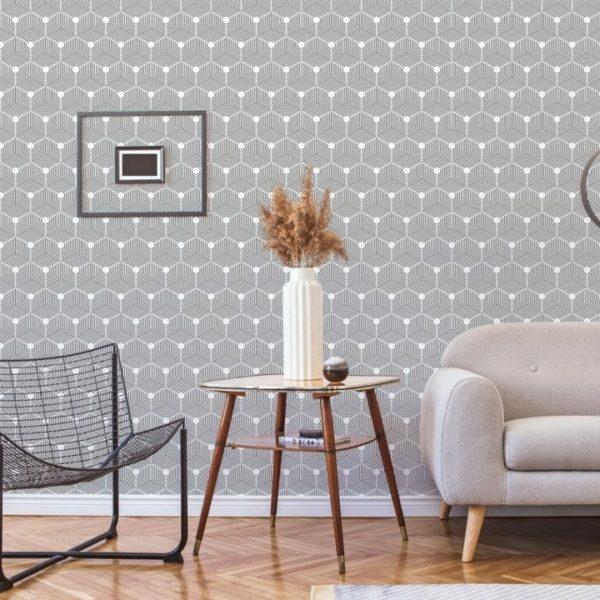 black hexagon peel and stick wallpaper