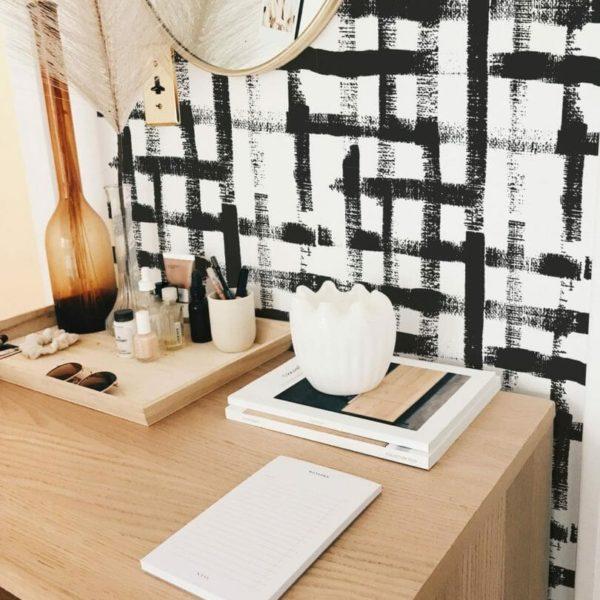 black square brush stroke self-adhesive wallpaper