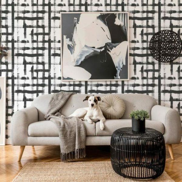 self adhesive square brush stroke wallpaper