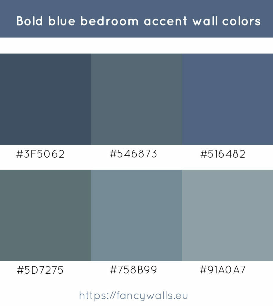 Bold blue colors for bedroom accent walls