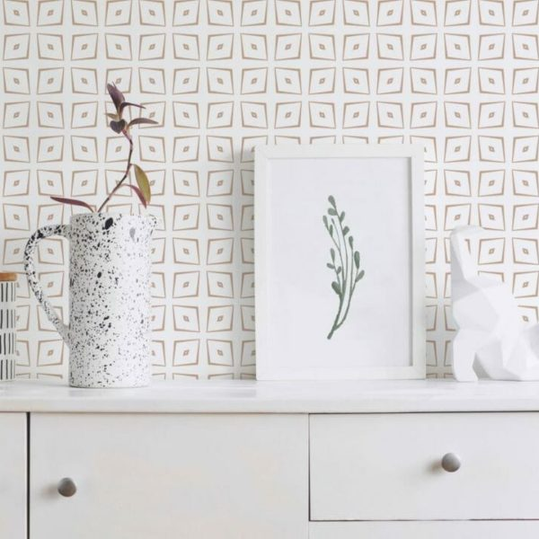 brown harlequin inspired peel and stick wallpaper