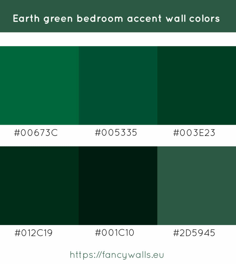 Earth green colors for bedroom accent walls