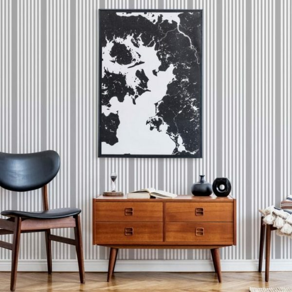 french ticking stripe peel and stick wallpaper