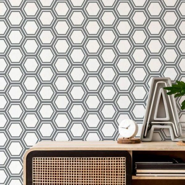gray hexagon peel and stick wallpaper