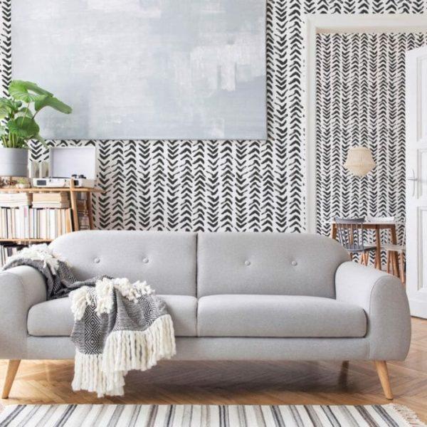 black herringbone removable wallpaper