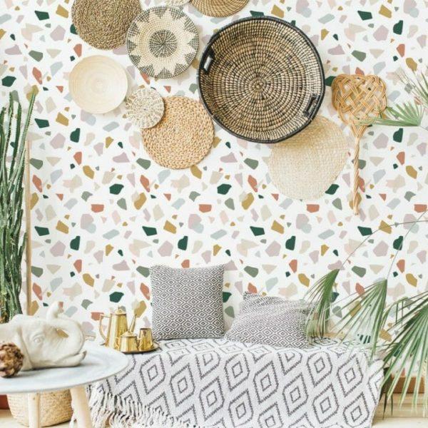 multicolor terrazzo peel and stick wallpaper