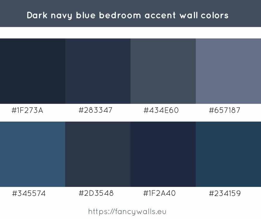 Dark navy blue colors for bedroom accent walls