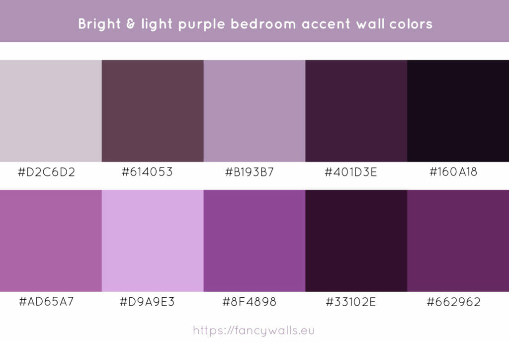 Light purple colors for bedroom accent walls