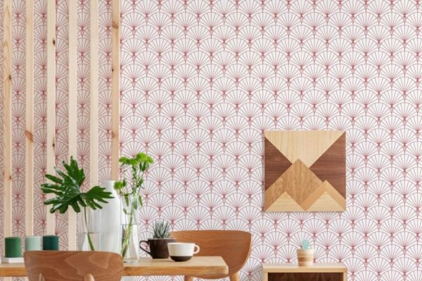 red art deco peel and stick wallpaper