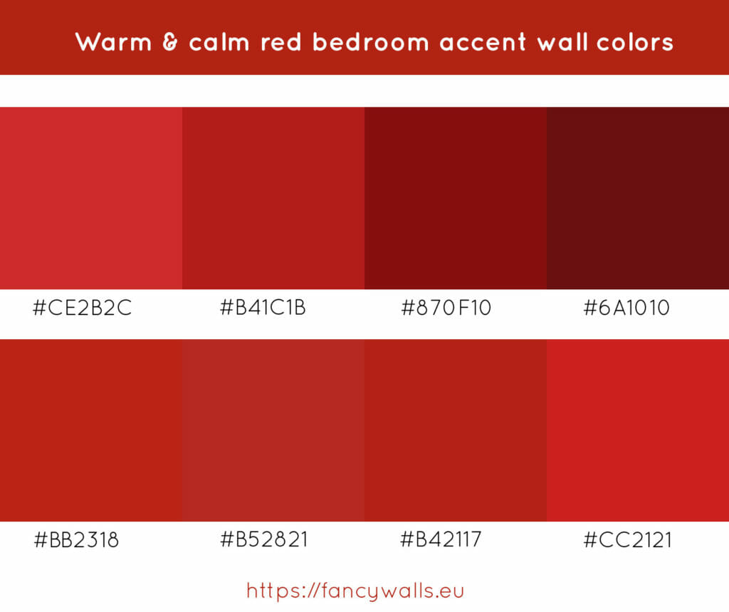 Calm red colors for bedroom accent walls