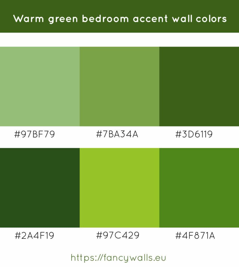 Warm green colors for bedroom accent walls