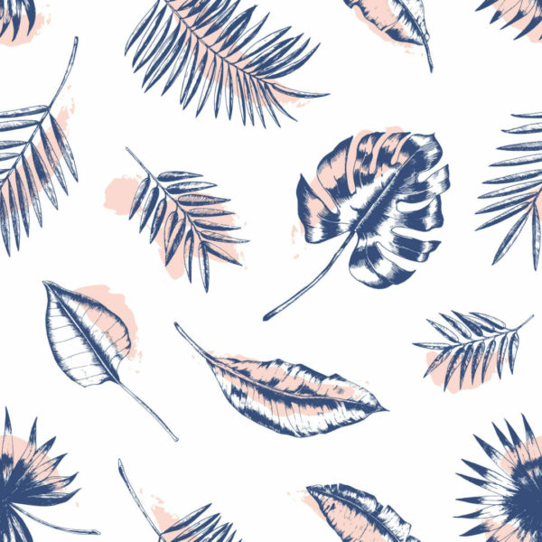 blue and white tropical leaves wallpaper roll