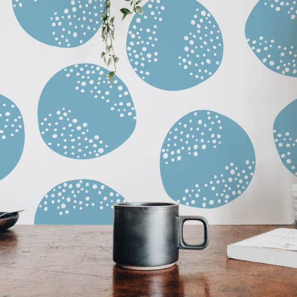 blue abstract circle self-adhesive wallpaper
