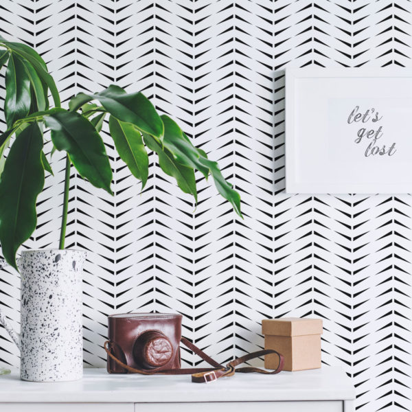 black and white accent herringbone wallpaper peel and stick