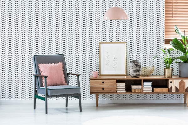 black and white accent herringbone removable wallpaper