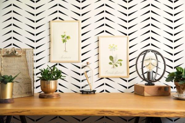 black and white accent herringbone peel and stick wallpaper