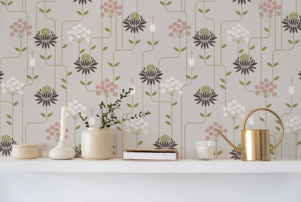 beige art deco floral wallpaper roll