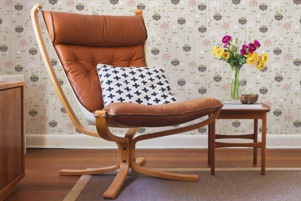 beige art deco floral removable wallpaper