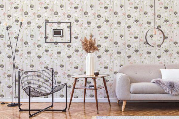 beige art deco floral self-adhesive wallpaper