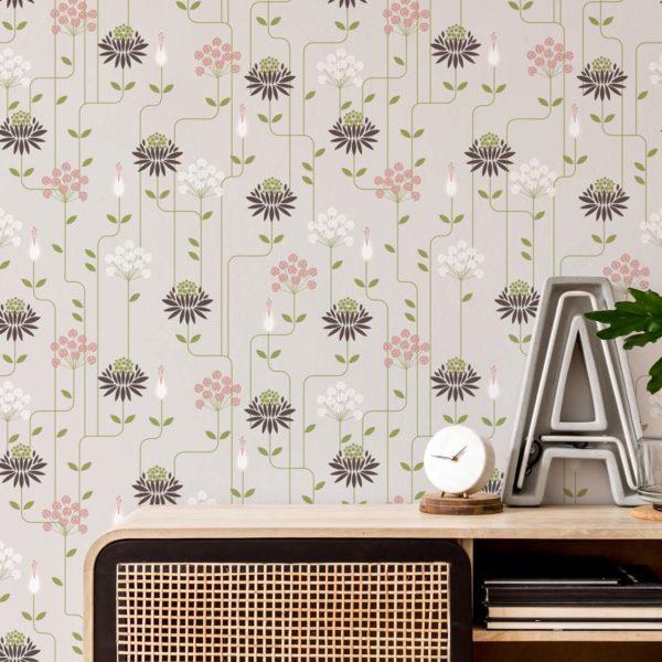 beige art deco floral peel and stick wallpaper