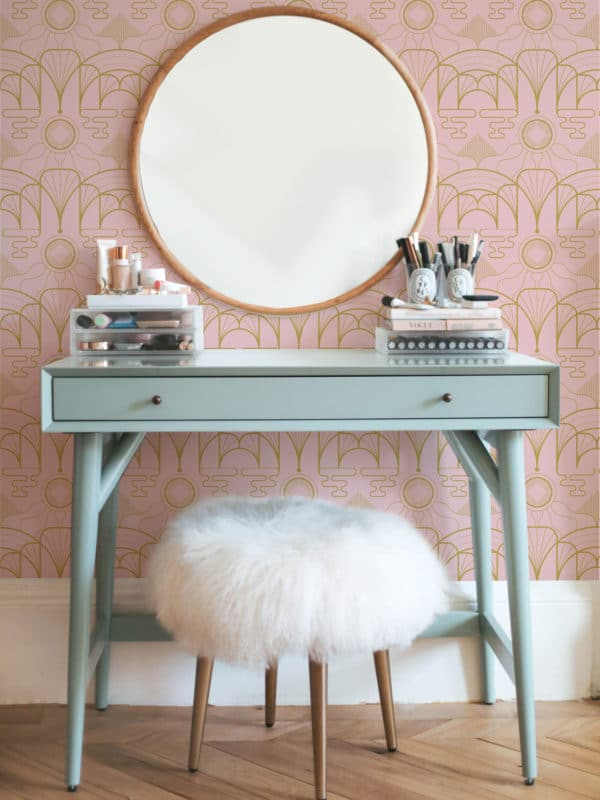 pink art deco peel and stick removable wallpaper