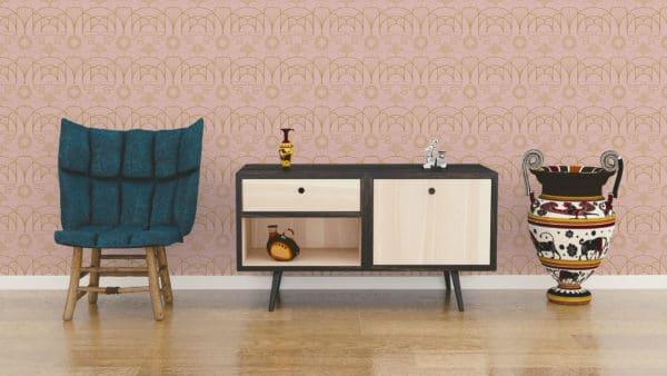pink art deco peel and stick wallpaper