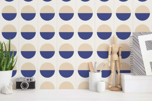 beige and blue circle pattern peel and stick wallpaper